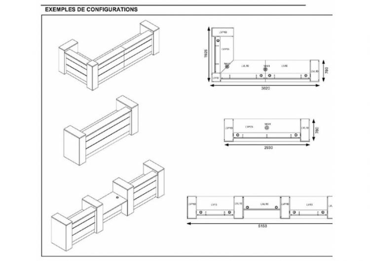 banque d 39 accueil retro clairable lop 4 mobilier de bureau. Black Bedroom Furniture Sets. Home Design Ideas