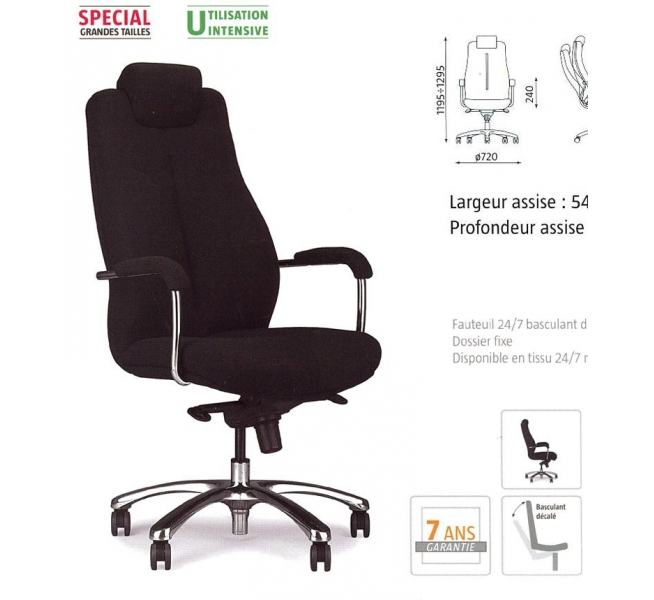 fauteuil 24h pour grande taille on 113 mobilier de bureau. Black Bedroom Furniture Sets. Home Design Ideas