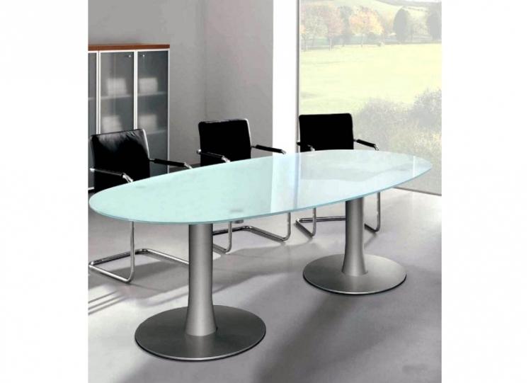 table de r union ovale verre pieds tulipe uq mobilier de bureau. Black Bedroom Furniture Sets. Home Design Ideas