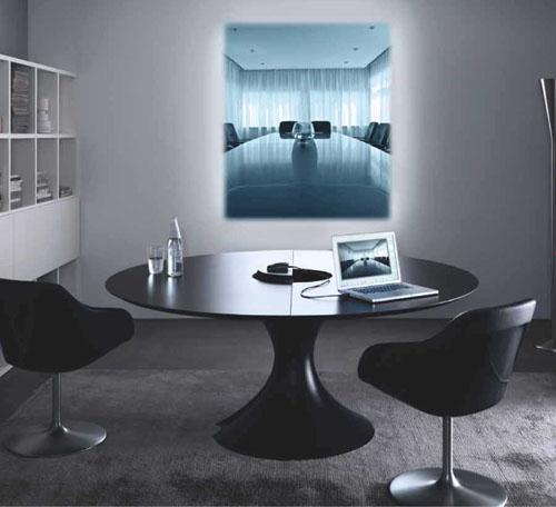 table de reunion ronde plateau verre loam am. Black Bedroom Furniture Sets. Home Design Ideas