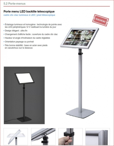 Porte menu lumineux d 39 ext rieur sur pieds ou mural naj for Porte menu lumineux exterieur