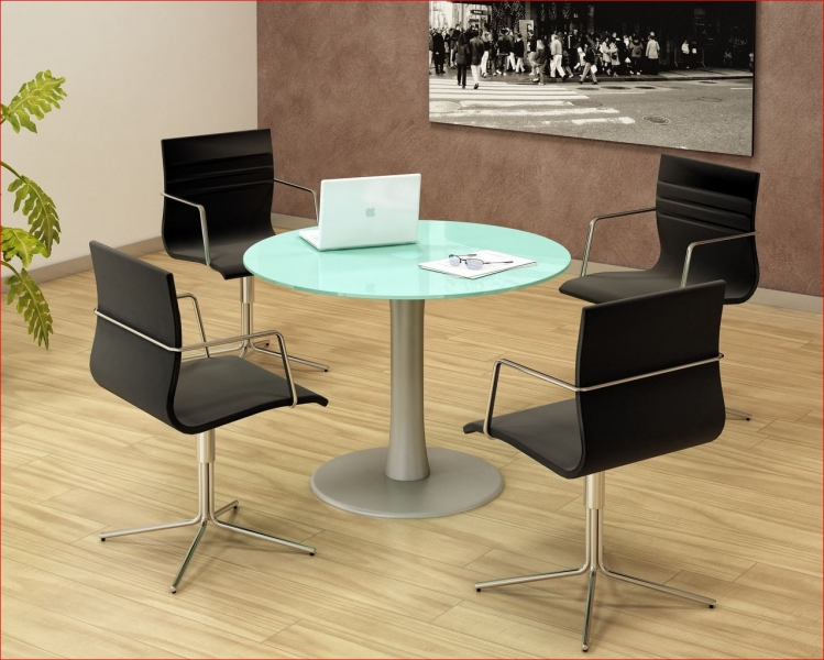 table ronde plateau verre r union uq 123. Black Bedroom Furniture Sets. Home Design Ideas
