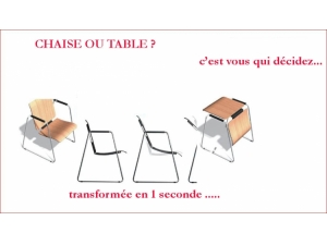 SIEGE-TABLE transformable :: chaise et tables TRO